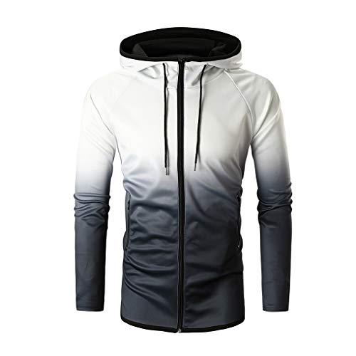 Preisvergleich Produktbild UJUNAOR Hoodie Männer Frühling Mode Herren Freizeit Pullover Langarm Slim Fit Farbverlauf Kapuzenpullover Jacke(Weiß