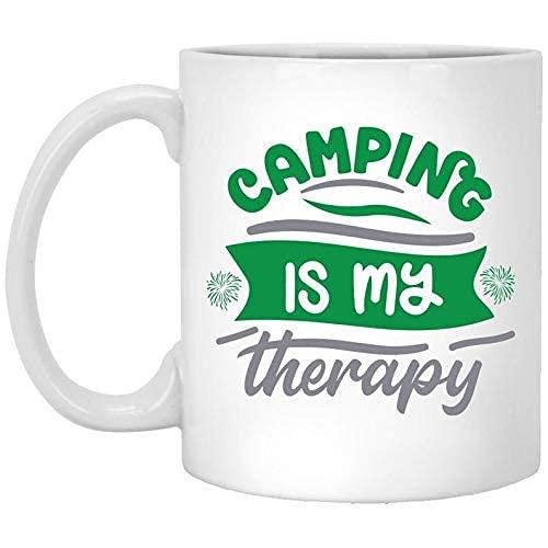 NA Tasse de Camping - Le Camping est ma thérapie - Cadeau de Tasses à café pour Papa, Maman, Grand-mère, Grand-père, frère, Soeur ou Meilleur ami du Camp - Fait à la Main