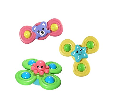 APORAKE 3Pcs Baby Suction Cup Spinning Top Toys, Spin Sucker Toys Animal Flower Creative Baby Bath Toys Early Educational Baby Kids Toys (Octopus&Starfish&Bear)