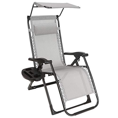 Superworth Liegestuhl Klappbar Belastbar, Sonnenliege Gartenliege mit Getränkehalter und Bespannung, zusammenklappbare Stühle für Strand, Garten, Camping, Outdoor, quadratische Stahlbeine/Grau