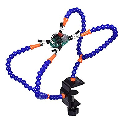 Toolour Helping Hands Soldering Third Hand Tools - 4 Arms with Adjustable Vise Tabletop Clamp Base for Electronics Repair Assembly Painting Jewelry DIY Arts Craft Hobby