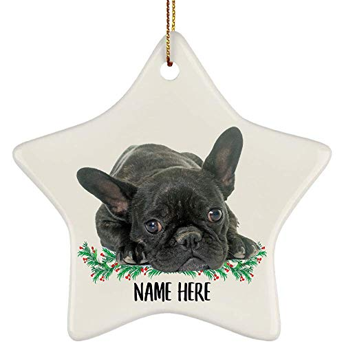 Lovesout Funny Personalized Name French Bulldog Brindle Black Gifts for Dog Mom, Custom Text Christmas Tree Ornament Ceramic Star