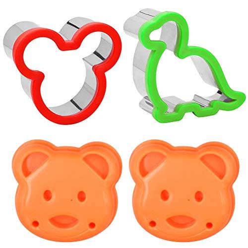 INTVN Sandwich Cortadores para niños Paquete de 4Acero Inoxidable Animal Dinosaurio Mickey Mouse Un Pan Cortador de Galletas Molde de la Galleta