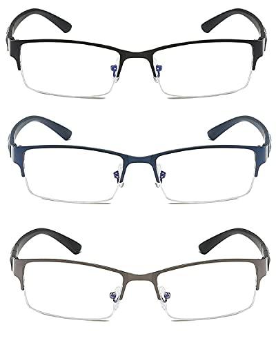 VISENG 3 Pack Half-rim Metal Frame Anti-slip Temples Blue Light Blocking Reading Glasses Men +1.5