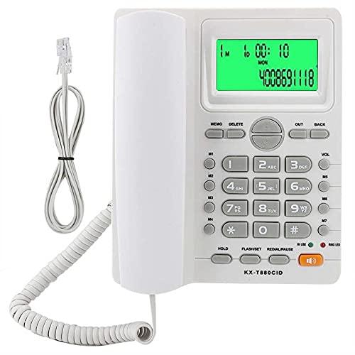 LYQQQQ Teléfono de teléfono Fijo con Cable de Escritorio con Cable Fijo con Pantalla de identificación de Llamadas Soporte de Soporte Re-dial Pause Función de Silencio para el hogar Uso del Hotel