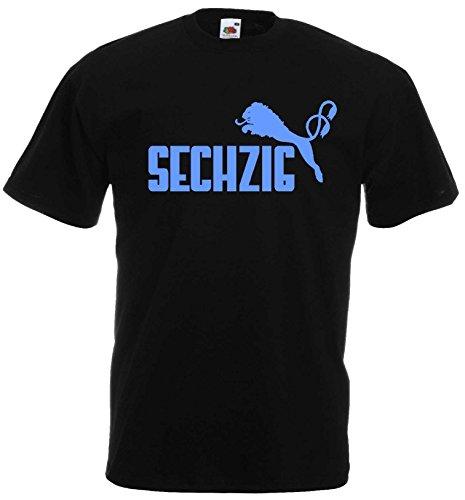 1860 Herren T-Shirt SECHZIG Löwen Shirtschwarz-blau-L