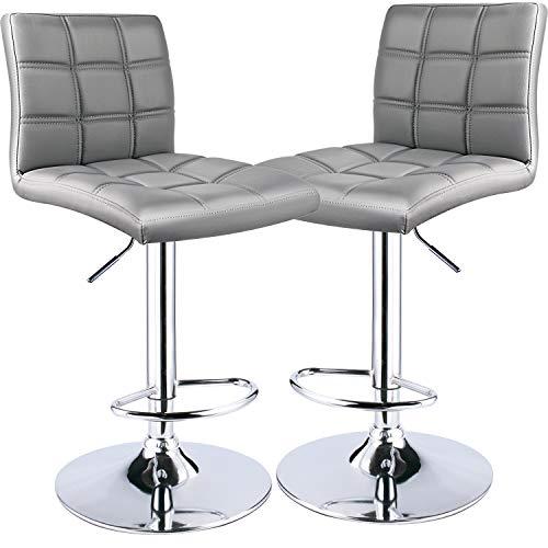 Leader Modern Square Back Bar Stools, Adjustable Swivel Bar Stool Set of 2, Bar Chair with Back (Light Grey)
