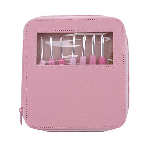 Purchase SONGLIN 8pcs Aluminum Crochet Hooks Sweater Sewing Needles with Plastic Scissors,Pink,13.8cm