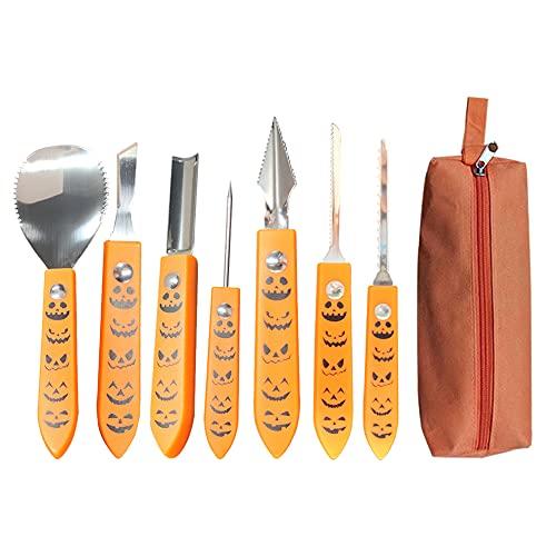 Set de Calabaza Tallado de Halloween, Herramientas para Tallar Calabazas, Material de Acero Inoxidable Adecuado para Usar con la Familia (8 Piezas)