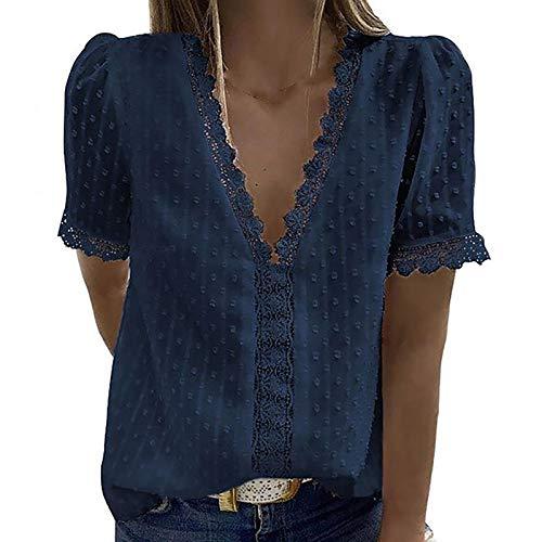 YANFANG Blusas de Mujer Elegantes,Camiseta Casual de Manga Corta con Encaje de Moda para Mujer Top de Color sólido con Cuello en V, M,Navy