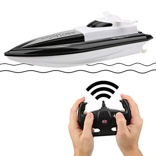 Caredy RC 2,4 GHz Fernbedienung 4 Kanal Schiffsmodelle, Yacht High Simulation wasserdichtes Boot Modell pädagogisches Spielzeug für Kinder, Jugendliche und Erwachsene(Schwarz)