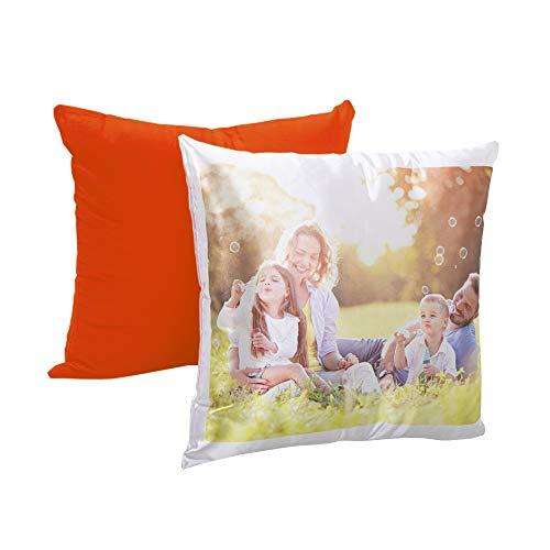 Cojín Personalizado con tu Foto y Texto. Impresión Completa para Regalos fotográficos Personalizados, Relleno Incluido (Naranja, 40 cm x 40 cm)