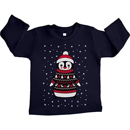 Shirtgeil Xmas Pinguin mit Rentier Weihnachtspullover Unisex Baby Langarmshirt 12-18 Monate Marineblau