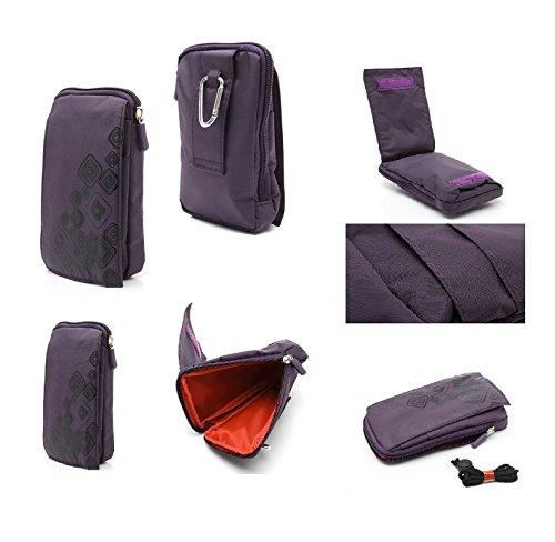 DFVmobile - Multi-Functional Vertical Stripes Pouch Bag Case Zipper Closing Carabiner for iBall Andi 4U Frisbee - Purple (16 x 9.5 cm)