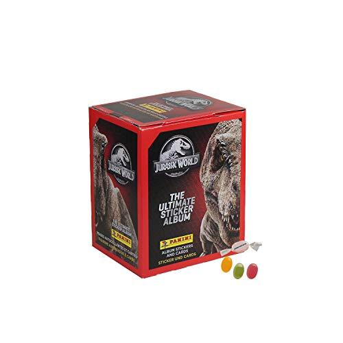 Panini Jurassic World Sticker Serie (2020) - 1x Display je 36 Stickertüten + je 4 Sticker +1x Trading Cards - zusätzlich 1 x Sticker-und-co Fruchtmix Bonbon