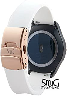 SnuG Watchbands Samsung Gear S2 classic 20mm Replacement Smart Watch Band fits Samsung Gear s2 CLASSIC only- Quick Release - Stainless Steel Deployant Buckle (White with Rose Gold Buckle)