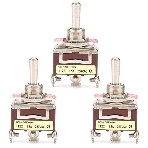 Interruptor de Palanca de 3 Piezas ON-OFF-ON, Interruptor de Palanca de Alto Rendimiento de 3 Pines y 3 Posiciones, con Orificio de Montaje de 12 mm, 15 A 250 VCA
