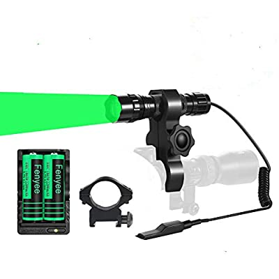 Fenyee Green Light Flashlight 350 Yards Adjustable Spotlight Floodlight Torch for Hog Pig Coyote Varmint