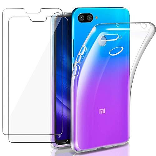 Meeter - Funda para Xiaomi Mi 8 Lite + 2 Piezas Protectores de Pantalla in Cristal Templado, Carcasa Suave Delgado Claro Funda de Silicona TPU - Transparente
