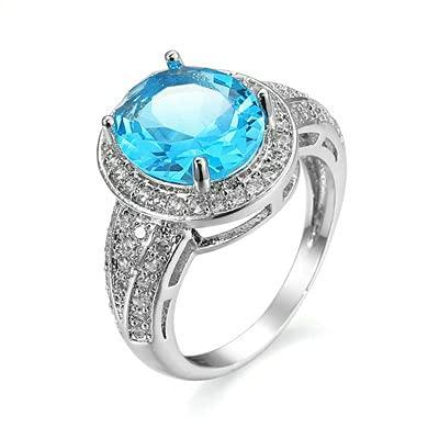 Bishilin Anillo de Bodasblanco Oro Plateado por Mujeres Azul Plateado Circón Azul Estilo Simple Anillos de Alianzas de Boda de Matrimonio con Azul Ovalada Circonita Tamaño:20