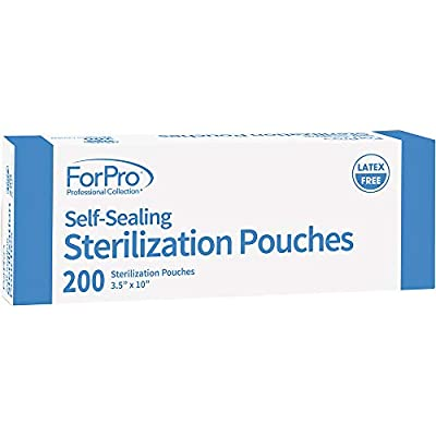 ForPro Self-Sealing Sterilization Pouches, Latex-Free, Color Changing Indicator, 3.5 Inches W x 10 Inches L, 200-Count