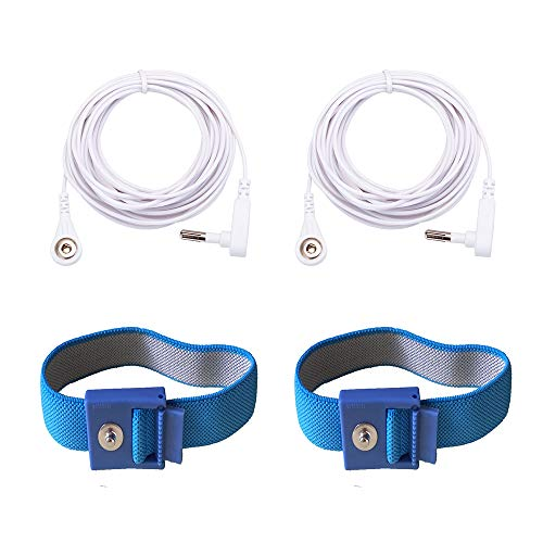 LandKissing® Grounding Blue Wrist Band (2 Sets) for Healthy Earthing Energy with 2 Straight Cords (16' Full Length)