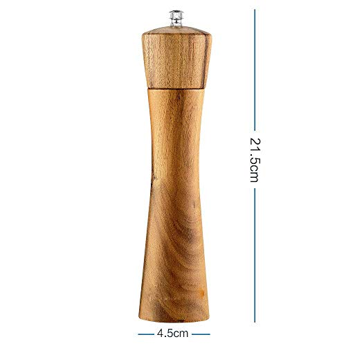 GooDoi Salt and Pepper Mill, Adjustable Wooden Salt and Pepper Grinder Set, Manual Salt and Pepper Mill Shakers with Ceramic Core, 8 inch (2 PCS)