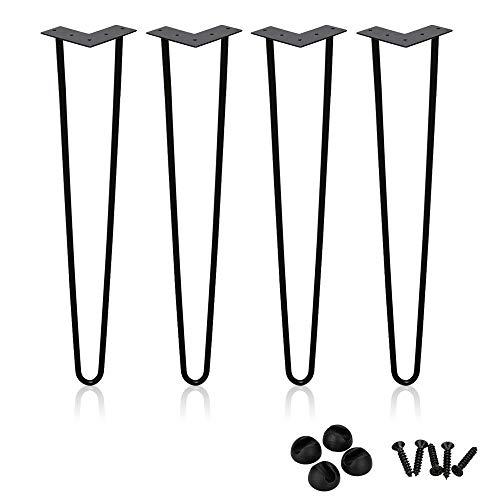 Hengda 4x Haarnadel Tischbeine Hairpin Legs Tischkufen Couchtisch Schreibtisch Arbeitstisch Durchmesser 12 mm Schwarz DIY Metall Heavy Duty Modern-Stil, 45cm 2-Stange Bein
