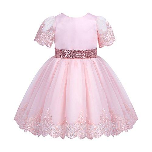 YiZYiF Baby Mädchen Kleid Taufkleid Kinder Festliches Kleider Prinzessin Hochzeit Blumenmädchenkleid Bow Kleinkind Kleidung Rosa 74-80