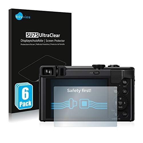 savvies Protector Pantalla Compatible con Panasonic Lumix DMC-TZ80 (6 Unidades) Pelicula Ultra Transparente