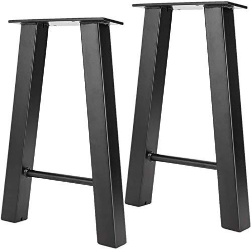 Homtone 2 PCS Patas de Mesa de Acero, Patas Muebles Industrial para DIY Café, Mesas de Sala y Mesa de Comedor, Pies de Mesa Metálicas Negro (Forma de A H 40cm)