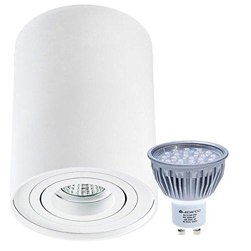 LED Aufbaustrahler Set ZYLINDER Weiss mit LED GU10 Markenstrahler von LEDANDO - 5W DIMMBAR - warmweiss - 60° Abstrahlwinkel - schwenkbar - 50W Ersatz - A+ - Aluminium - Aufbauspot