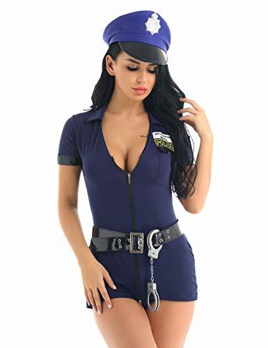 inhzoy Disfraz de Policía para Mujer Talla Grande Uniforme de Policía Sexy Vestido con Pantalones Ropa Erótica Cosplay Police para Halloween Fiesta Azul Marino Medium