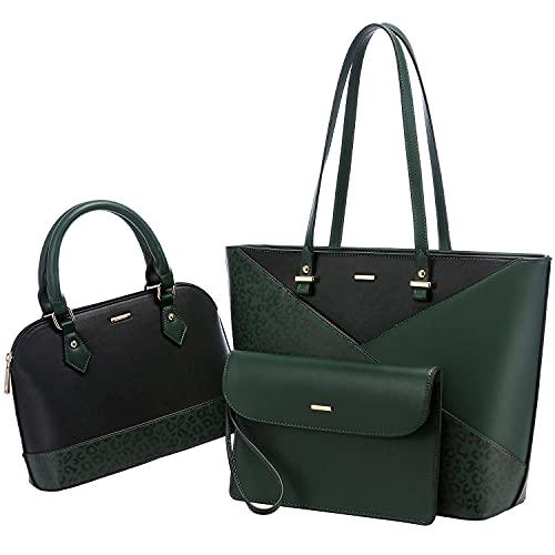 LOVEVOOK Handtaschen Damen Shopper Groß elegant Damen Tasche Schultertasche Henkeltasche Handtasche 3-teiliges Set, Schwarz Dunkelgrün mit Leopardenmuster