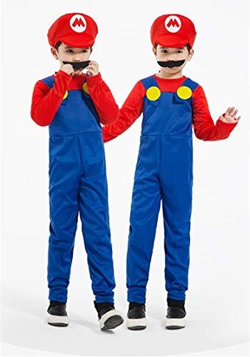 WSJDE Cosplay Adultos y Super Mario Bros Cosplay Traje de Baile Conjunto niños Fiesta de Halloween Mario y Luigi Disfraz para Regalos L Boy Red