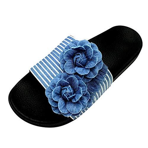 TTLOVE Damen Casual Sommer Hausschuhe Denim Blumen Flats Open Toe Schuhe Flip-Flops Hausschuhe Mode Strandschuhe Frauen rutschfeste Badeschuhe Party Flache Sandalen