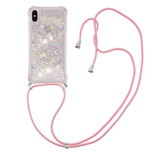 Schutzhülle für iPhone Xs Max (16,5 cm (6,5 Zoll) mit Flüssigkeit, glitzernd, TPU-Gel, Silikon, stoßfest, mit Trageband)