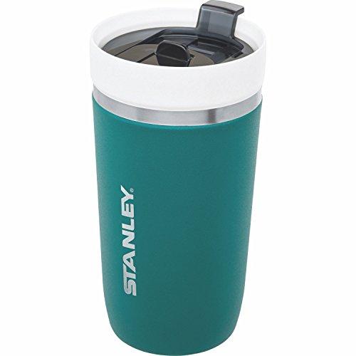 Stanley GO Ceramivac Thermo-Trinkbecher mit Keramik-Beschichtung, 0.47 L, jägergrün, Doppelwandig, Vakuumisoliert, Deckel verschließbar, Thermobecher Isolierbecher Kaffeebecher