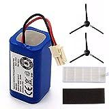 ADUCI 1 Juego de batería Recargable for ILIFE 2 * 2 * Filtro + Cepillo de 14.8V 2800mAh robótica Accesorios for aspiradoras Piezas for Chuwi Ilife A4 A6 A4S