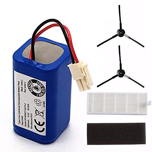 L-Yune, 1 Juego de batería Recargable for ILIFE 2 * 2 * Filtro + Cepillo de 14.8V 2800mAh robótica Accesorios for aspiradoras Piezas for Chuwi Ilife A4 A6 A4S