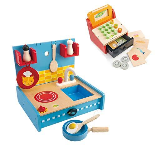 tender leaf toys 木製 ポップアップキッチン &ティルウィズマネー/レジスターセット ごっこ遊び 男の子 女の子 ままごと 知育玩具