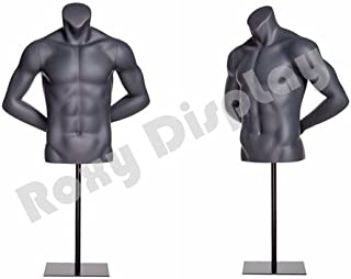 (MZ-NI-7) ROXYDISPLAY™ TEye Catching Male Headless Mannequin Torso, Athletic Style. Both Hands Behind Back.
