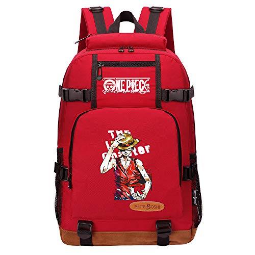 CXWLK Mochila Urban para Hombre Senderismo Trabajo con Bolsillo Backpack Mochila Hombres Mujer Bolso Mochila De Gran Capacidad,One Piece,Red,46cmX29cmX13cm