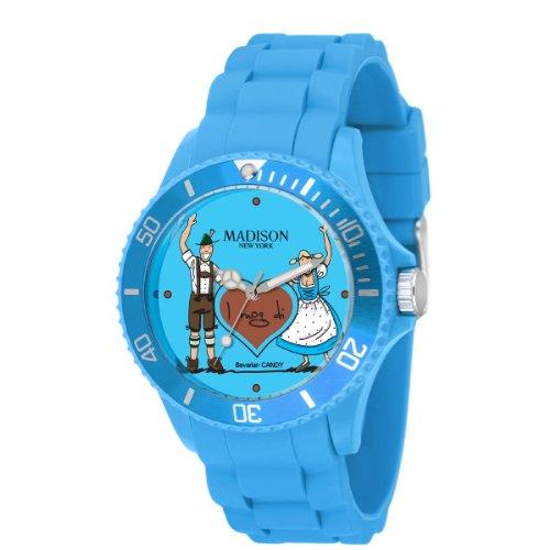 Madison New York Damen-Armbanduhr XL Bavarian Candy Analog Quarz Silikon U4444F