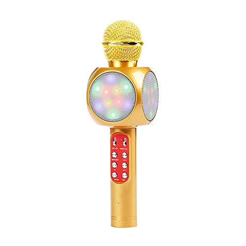 SXT Wireless Karaoke Handheld Microphone, Portable Bluetooth Player Supports TK Memory Card, Used for Family Party/Stage/Children'S Gifts,Gold