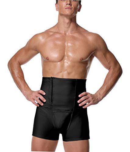 FEOYA Miederhose, für flachen Bauch, Herren, hohe Taille, schlankmachend, Schwarz, Push-Up-Shorts, dehnbar, formend, Silouette, Armbanduhr, Gesäß, mit Reißverschluss Gr. 3XL, Schwarz