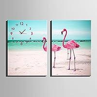 E-HOME フラミンゴ 時計壁時計壁掛け時計飾り時計個性掛け時計個性的な装飾画 インテリア絵 壁面装飾 飾り絵 (35x50cm*2pcs)