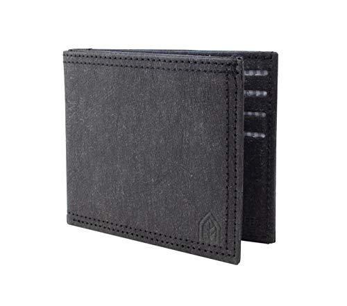 JOELWALLETS | Edition Noir, handgefertigte Geldbörse aus robustem Kraftpapier, Kleiner und Leichter Geldbeutel, Doppelnaht, NFC- und RFID Schutz [schwarz]