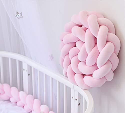 Bettumrandung, FOCHI Baby Bettschlange Nestchenschlange Babybett Weben Kantenschut Kopfschutz für Krippe Kinderbett,Länge 2M (Rosa)