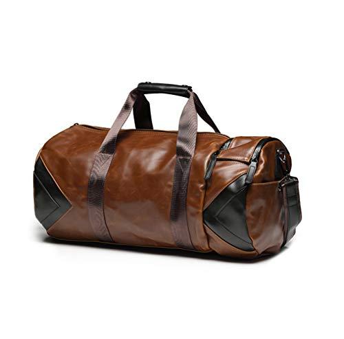 BAACD Bolso de viaje para hombres Bolso de mano de equipaje marrón Bolso grande de cuero de fin de semana Impermeable Ligero de negocios Regalo de Navidad de cumpleaños para hombres-brown